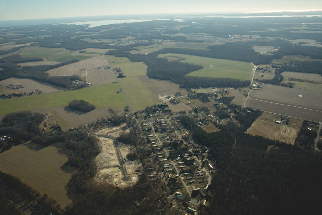 an aerial photo of South Jersey farmland