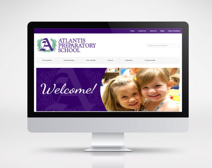 atlantis prep school website mockup