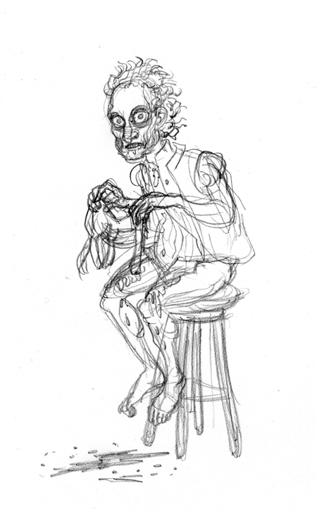 Tarrare seated, eating a cat