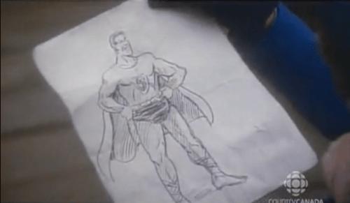 Superman illustration from heritage minute
