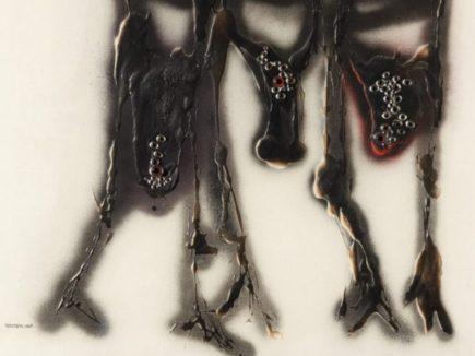 Perdonami le congiunzioni, 1969,tecnica mista su tela,100×100 cm