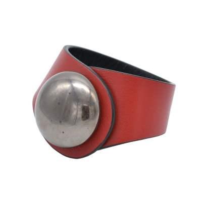 Bracciale in pelle rossa con bottone intercambiabile argento
