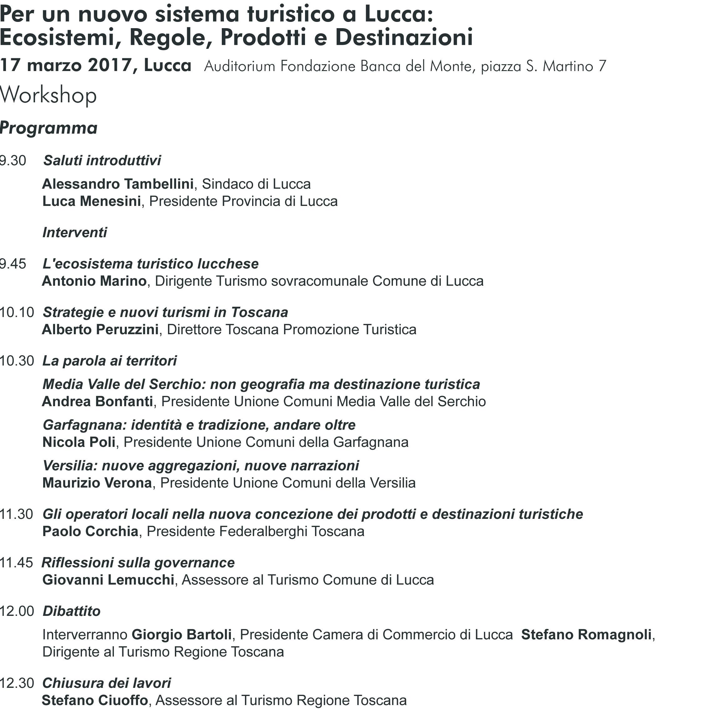 Programma Workshop Lucca Turismo