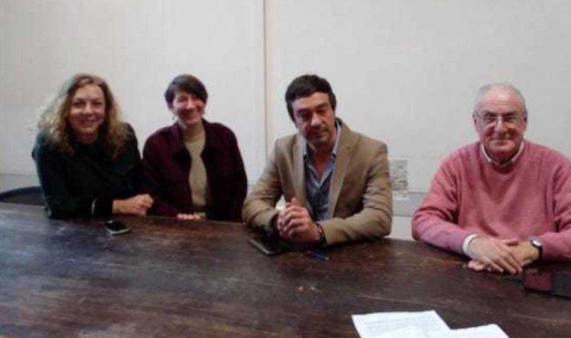 Pisa, Da sinistra Olivia Picchi, Tiziana Nadalutti, Gabriele Amore ed il capogruppo PD in Comune Giuliano Pizzanelli