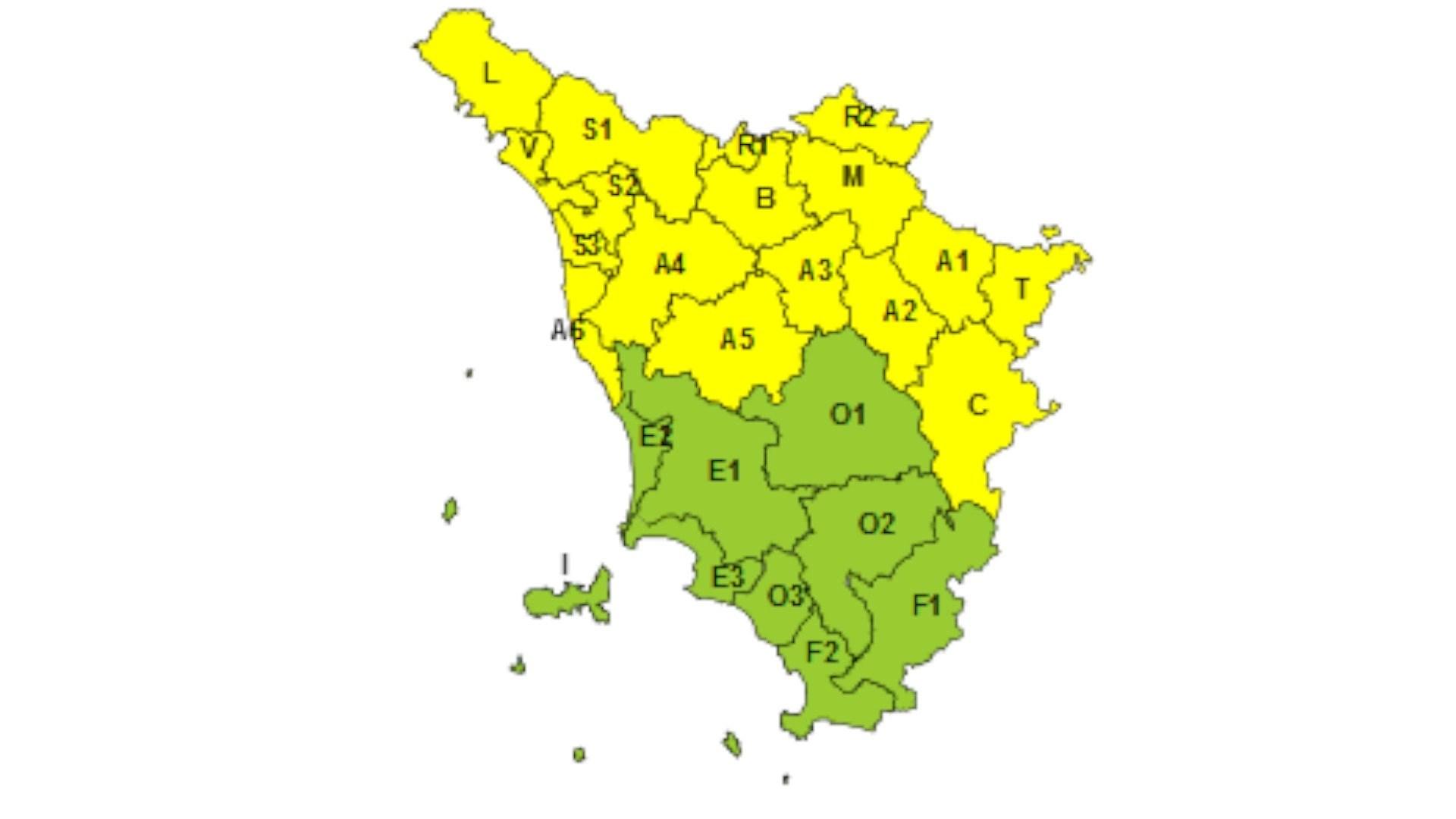 TOSCANA - Codice giallo per temporali il 17 settembre