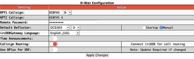 Digital mode configuration settings - D-STAR