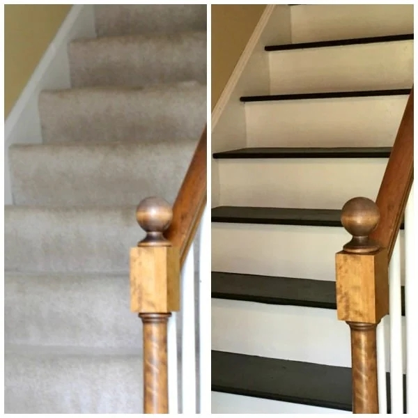 How To Remove Carpet From Stairs And Paint Them   Painted Stairs With Carpet Treads   Oak   Wallpaper   Non Slip   Retrotread   Hardwood