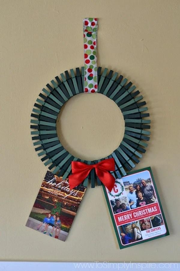 DIY Christmas Card Holder Wreath