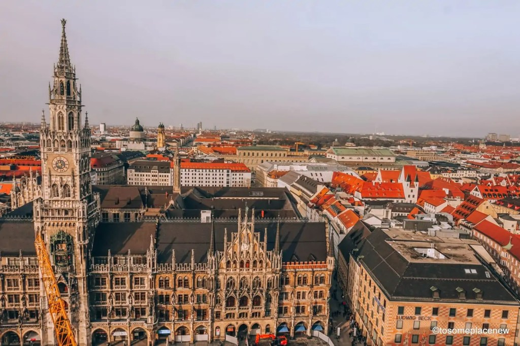 Beautiful views of Munich from Mary's Square. A week long itinerary to Munich, Germany. Read a day-by-day list of popular places to visit like Marienplatz, day trips from Munich to Nuremberg, Dachau and the Bavarian countryside Use this itinerary to craft your own special Munich trip and inspirations #munich #germany #itinerarytomunich