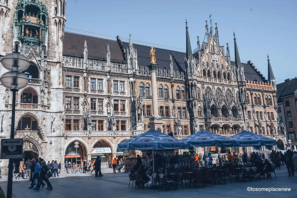 Marienplatz or Mary's Square in Munich. A week long itinerary to Munich, Germany. Read a day-by-day list of popular places to visit like Marienplatz, day trips from Munich to Nuremberg, Dachau and the Bavarian countryside Use this itinerary to craft your own special Munich trip and inspirations #munich #germany #itinerarytomunich