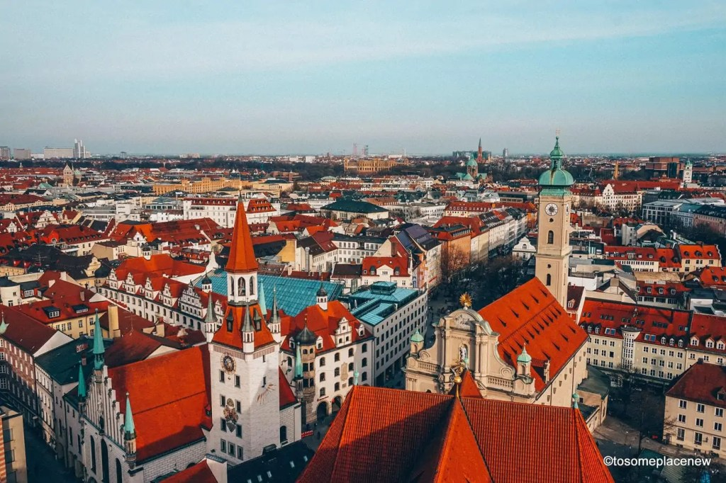 Views of Old Town of Munich as seen from Old Pete, Munich Germany