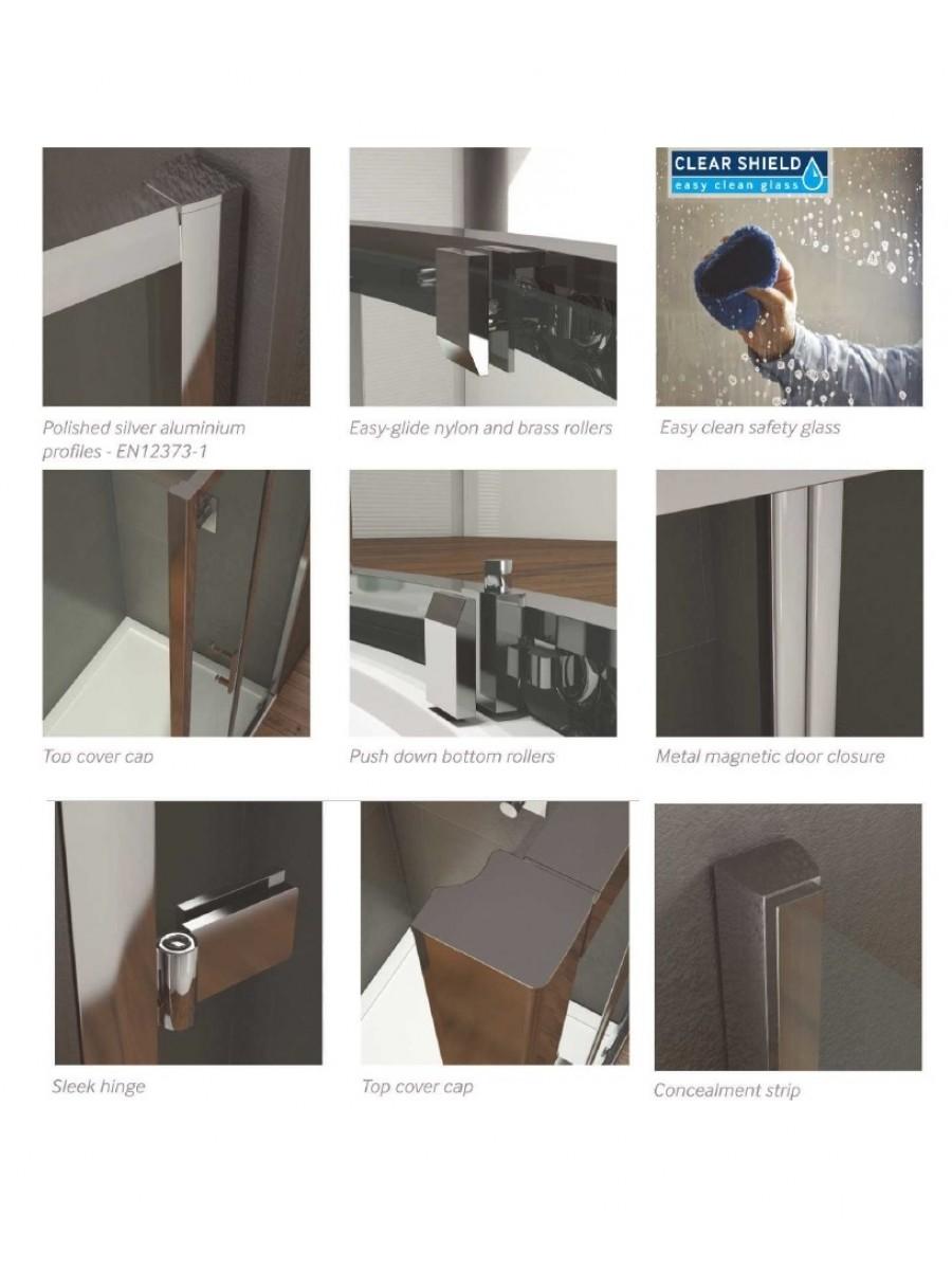 Kristal Style 900mm Hinged Shower Door Adjustment 850 890mm