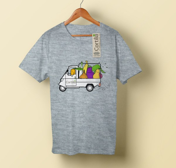 t-shirt Cortilia illustrata da Tostoini