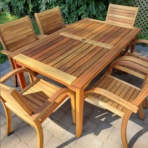 Outdoor table and chair set finished with TotalBoat Danish Teak Sealer