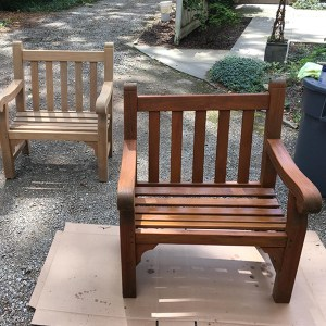 Before and after chairs finished with TotalBoat Danish Teak Sealer