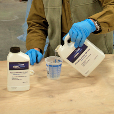 Dispensing TotalBoat Penetrating Epoxy Resin and Hardener