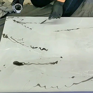 Epoxy Marble Effect Tutorial - Apply the marbling effect with gray mixed epoxy