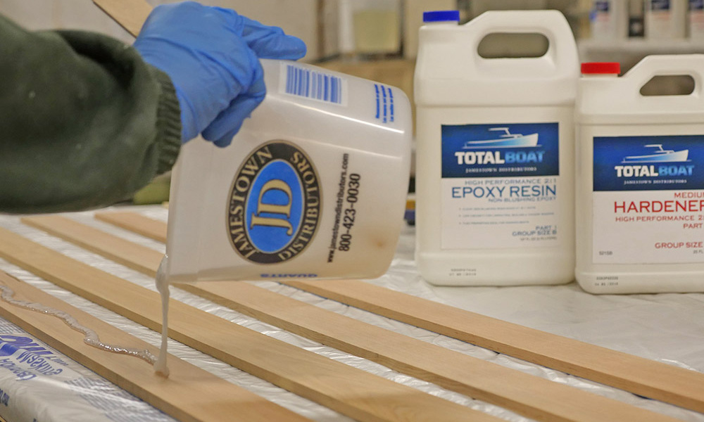 TotalBoat High Performance Epoxy thickened with epoxy filler for laminating