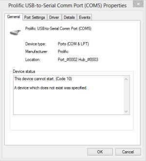 Prolific USB to Serial code 10 error