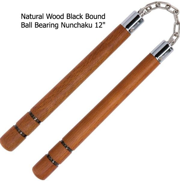 Natural Wood Black Bound Ball Bearing Nunchaku