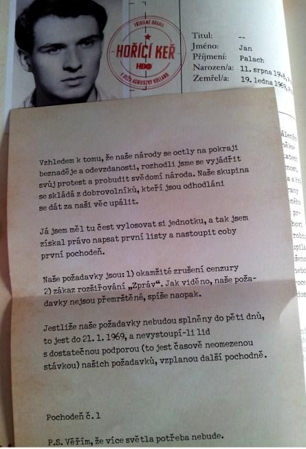 Faksimile dopisu Jana Palacha