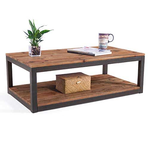 Care Royal Vintage Industrial Farmhouse 43 3 Inches Coffee Table With Storage Shelf For Living Room Accent Cocktail