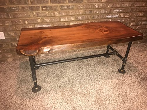 industrial pipe and wood coffee table live edge rustic vintage honey pine
