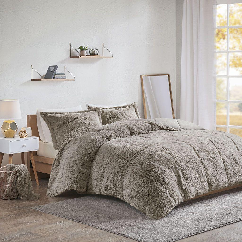 intelligent design malea king cal king shaggy faux fur comforter set olliix id10 1698