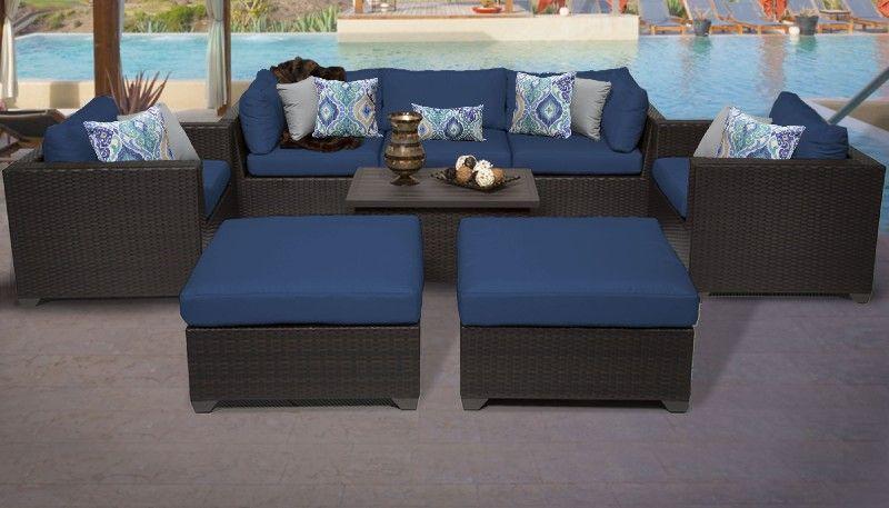 belle 8 piece outdoor wicker patio furniture set 08a in navy tk classics belle 08a navy