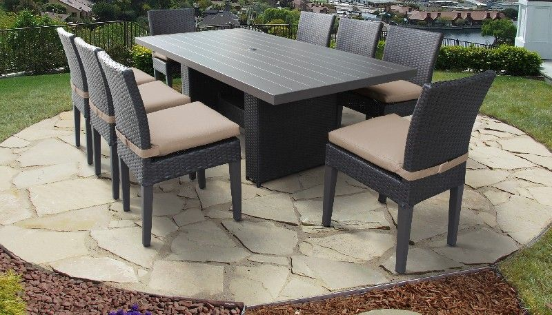 belle rectangular outdoor patio dining table w 8 armless chairs in wheat tk classics belle dtrec kit 8c
