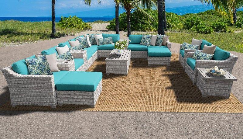 fairmont 17 piece outdoor wicker patio furniture set 17a in aruba tk classics fairmont 17a aruba