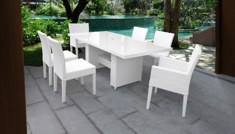 miami rectangular outdoor patio dining table w with 4 armless chairs and 2 chairs w arms in sail white tk classics miami dtrec kit 4adc2dc