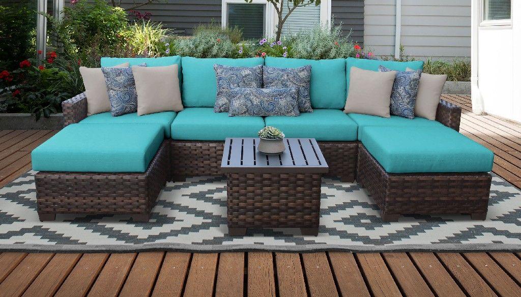 kathy ireland homes gardens river brook 7 piece outdoor wicker patio furniture set 07a in aqua tk classics river 07a aruba