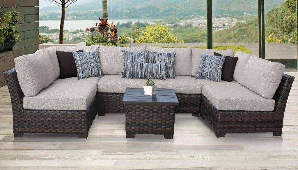 kathy ireland homes gardens river brook 7 piece outdoor wicker patio furniture set 07c in truffle tk classics river 07c