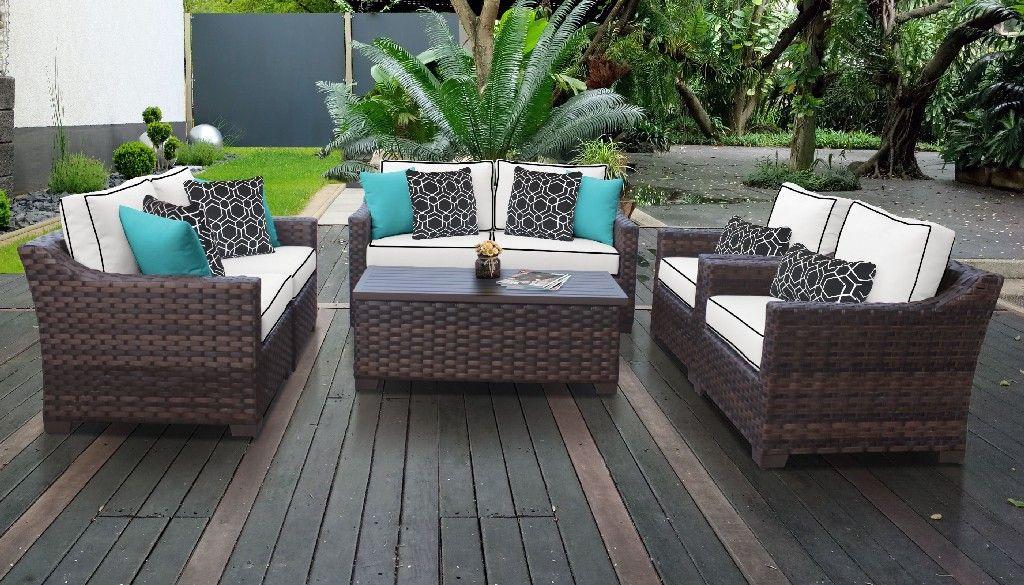 kathy ireland homes gardens river brook 7 piece outdoor wicker patio furniture set 07e in snow tk classics river 07e snow