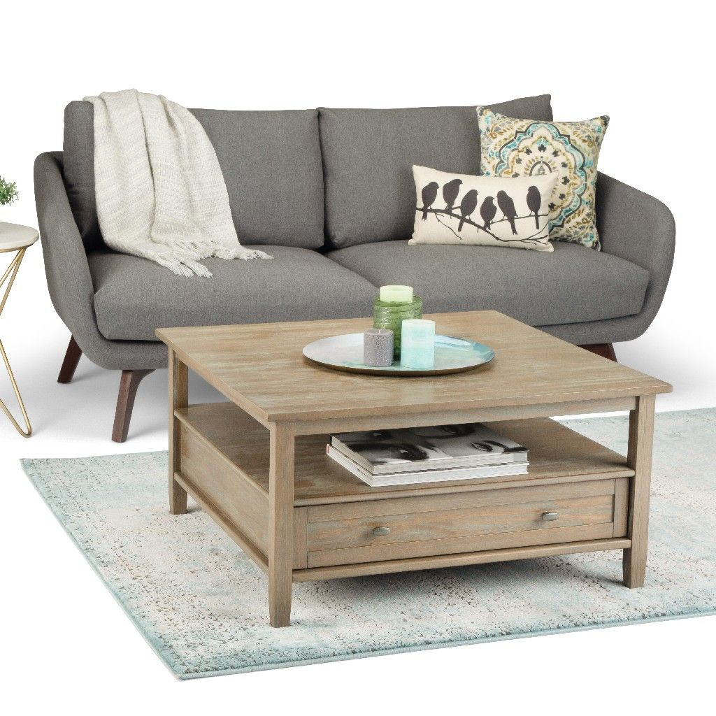 warm shaker solid wood 36 inch wide square rustic coffee table in distressed grey simpli home axwsh012 gr