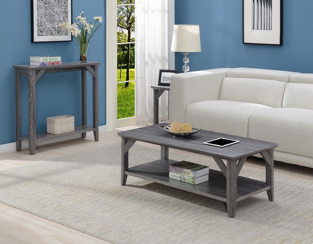 winston coffee table in weathered gray convenience concepts 121282wgy