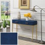 Ashley Console Table In Blue Gold Convenience Concepts 413189be
