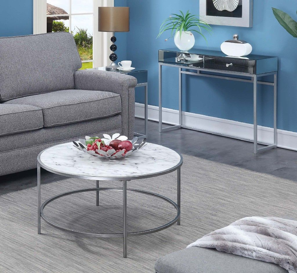 gold coast faux marble round coffee table in white faux marble silver frame convenience concepts 413477wms