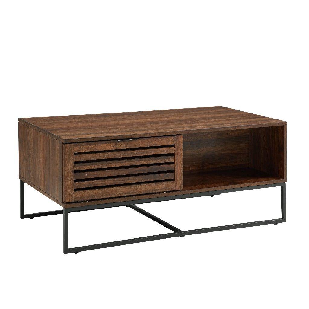 42 modern slat door coffee table in dark walnut walker edison af42jacctdw