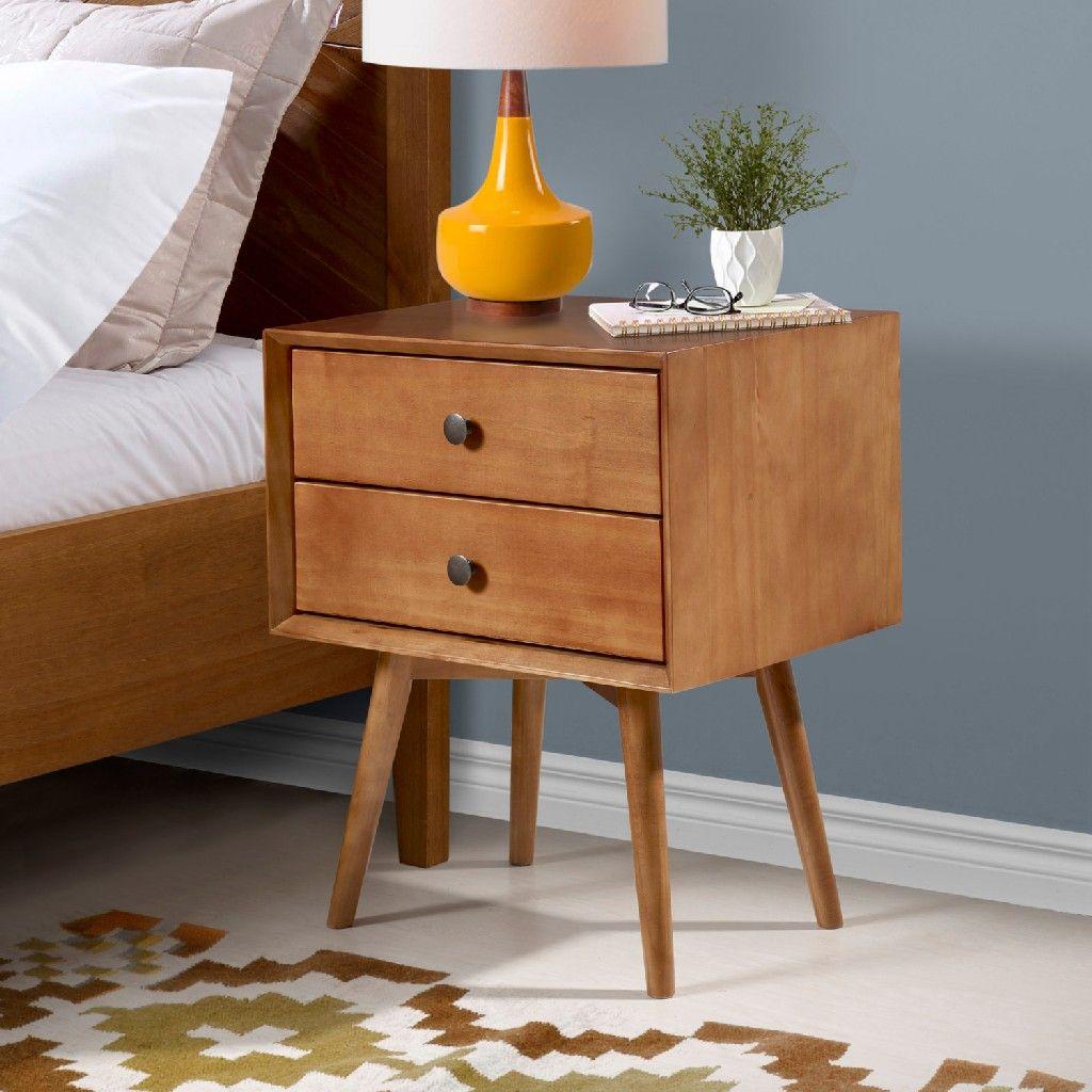 mid century 2 drawer solid wood nightstand in caramel walker edison br25mc2dca