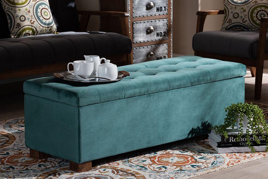 baxton studio roanoke modern contemporary teal blue velvet fabric upholstered grid tufted storage ottoman bench wholesale interiors bbt3101 teal