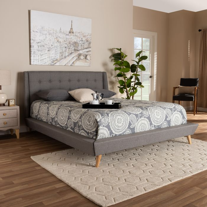 baxton studio naya mid century modern grey fabric upholstered king size wingback platform bed cf9061 light grey king