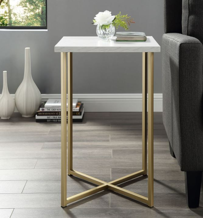 16 modern bohemian square side end table nightstand w white marble top gold legs walker edison af16luxwmg