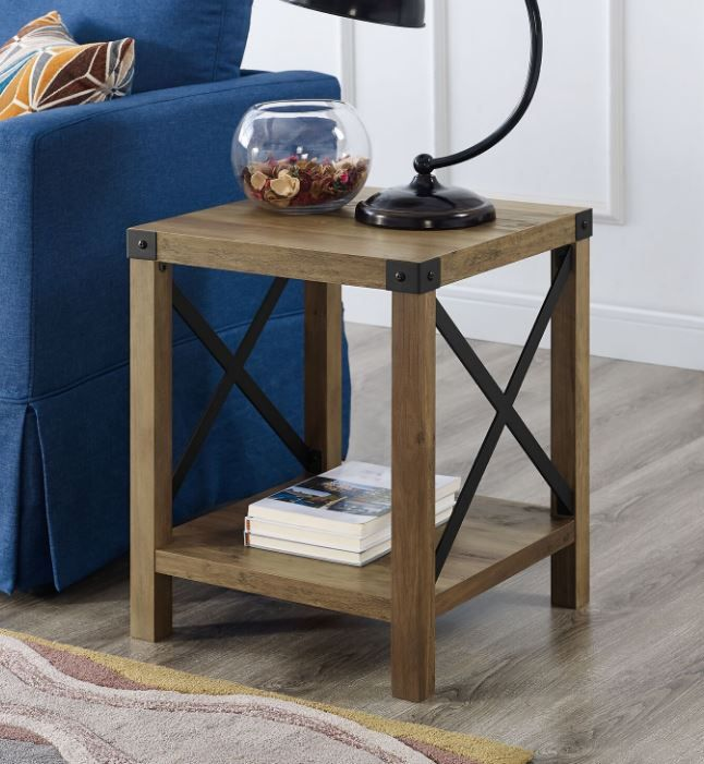 18 rustic urban industrial metal x accent side table in rustic oak walker edison af18mxstro