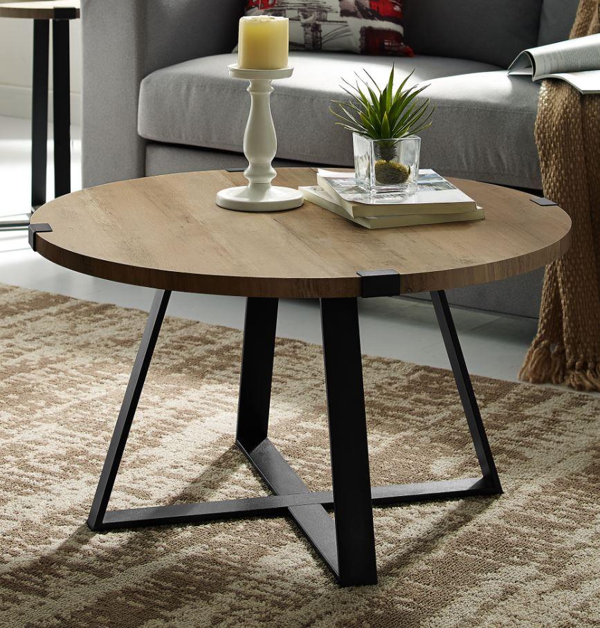 30 rustic urban industrial wood metal wrap round coffee table in rustic oak black walker edison af30mwctro