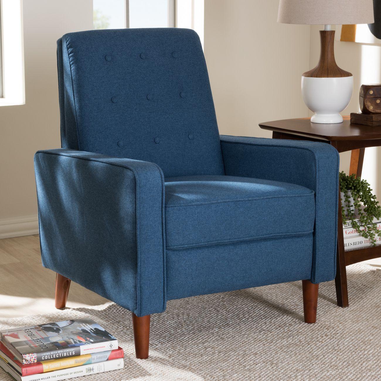 Baxton Studio Mathias Mid Century Modern Blue Fabric Upholstered Lounge Chair 1705 Blue