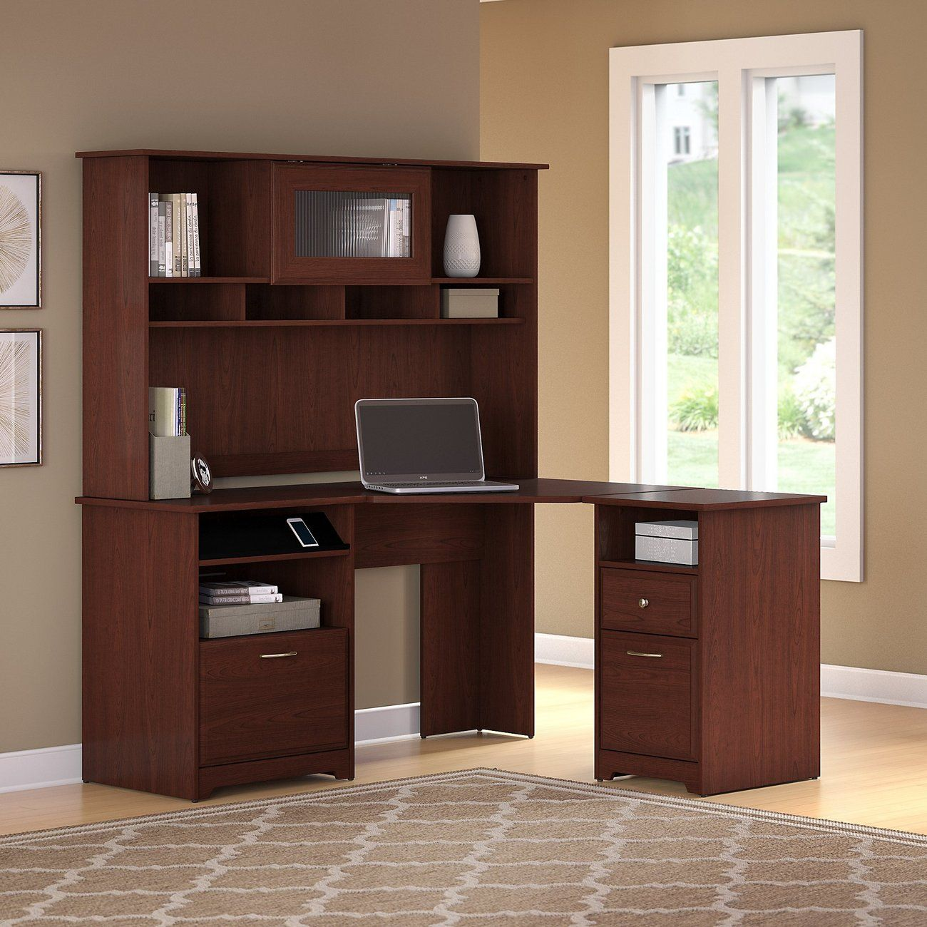 Bush Furniture Cabot Lateral File Cabinet In Harvest Cherry Home Office Cabinets