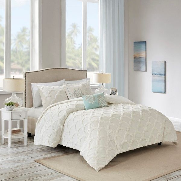 harbor house full queen 3 piece cotton chenille comforter set in white olliix hh10 1695