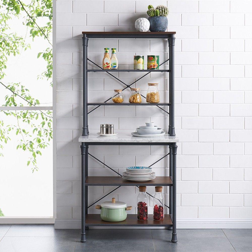 pender bakers rack in rustic gray w dark distressed pine gray veined marble southern enterprises ka1249
